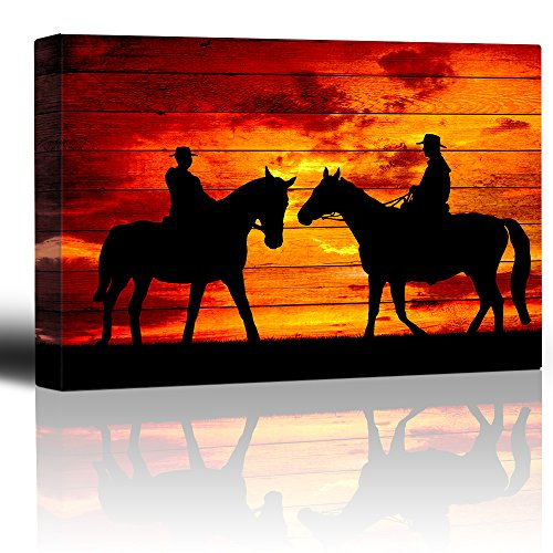 wall26 - Two Riders Meet While on Horseback - Sunset on The Range - Cowboy Art - Country Western Silhouettes - Canvas Art Home Decor - 16x24 inches -