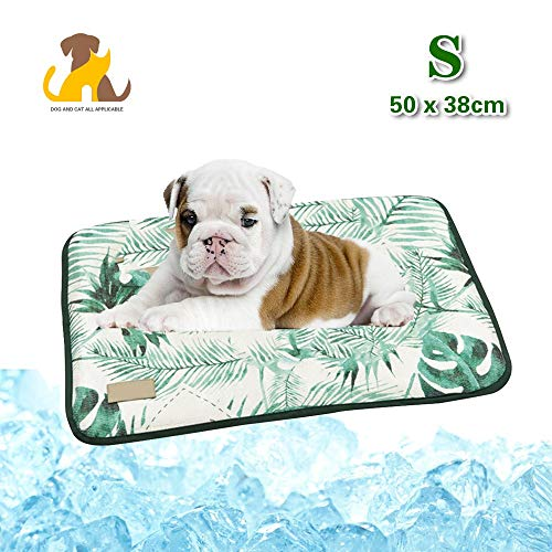 Mission Leaf Pattern - Nwayd Cooling Pad for Dogs,Help Your Pet Stay Cool This Summer - Avoid Overheating, Ideal for Home and Travel 4 Sizes,Green Leaf Patterns 5038cm