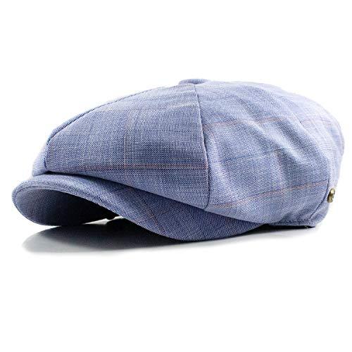 Cabbie Newsboy Gatsby Cap Mens Linen Ivy Hat Applejack Golf Driving Summer Sun Flat Blue/White -