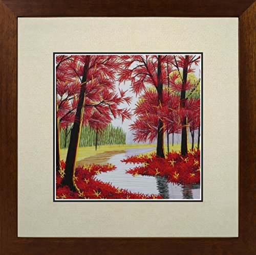 andmade Embroidery Multiple Framed Red Maple Forest Oriental Wall Hanging Art Asian Decoration Tapestry Artwork Picture Gifts 37017WFC2 ()