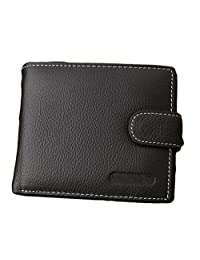 American Trends Men's Genuine Leather Card Holder Bifold Wallet with ID Window Black