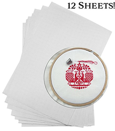 12-Inch x 18-Inch Cross Stitch Fabric (12-Pack); White 14-Count Size Embroidery Cloth