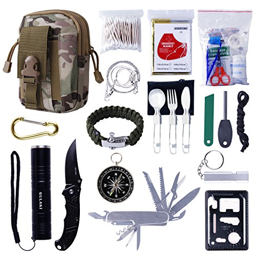 GULAKI Emergency Survival Kit, First Aid Kit Portable Outdoor Survival Gear Tool with Folding Knife, Flashlight, Emergency Blanket, Fire Starter for Hiking Camping Travel Adventure