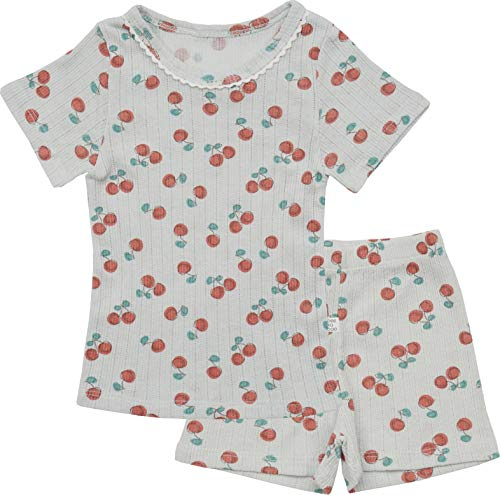 AVAUMA Newborn Baby Little Boy Girl Cherry Pattern Pajamas Summer Ribbed Short Sets Pjs Kids Clothes (M/Mint)