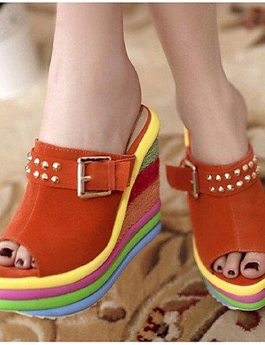LFNLYX Zapatos de mujer - Tacón Cuña - Plataforma / Punta Abierta - Sandalias - Casual - Ante Sintético - Azul / Naranja Orange