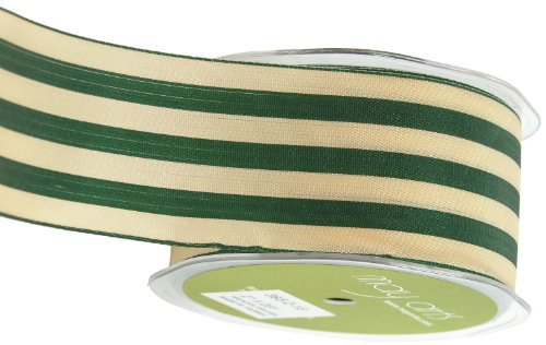 May Arts 2-Inch Wide Ribbon, Green and Ivory Stripe ()