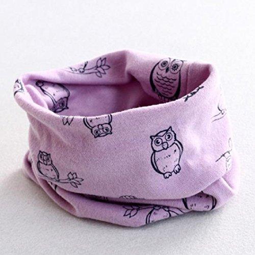 Auxma Invierno del bebé de la bufanda de cuello,Algodón Pañuelos Impresión de buho Púrpura