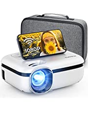 MOOKA Proyector WiFi, 7500L HD para exteriores Mini proyector con bolsa de transporte, pantalla de 1080P y 200 pulgadas soportada, cine en casa para TV Stick, videojuegos, HDMI, USB, AUX, AV, PS4, portátil, iOS y Android