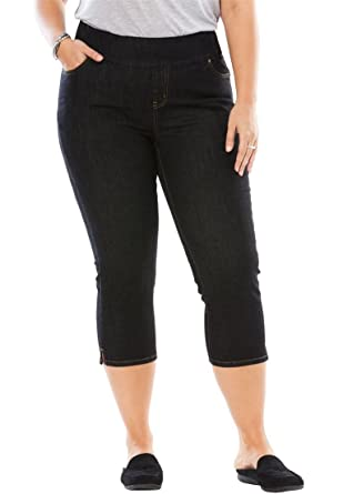 2c07d82c1f30f Woman Within Plus Size Smooth Waist Capri Jean at Amazon Women s ...