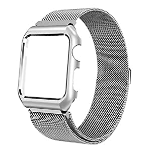 Apple Watch Leather Band 42mm, Mobest Epsom Calf Leather iWatch Strap,Stainless Metal Double Folding Butterfly Clasp Replacement for 38mm Apple Watch Series 3/2/1,Sport and Edition-Black