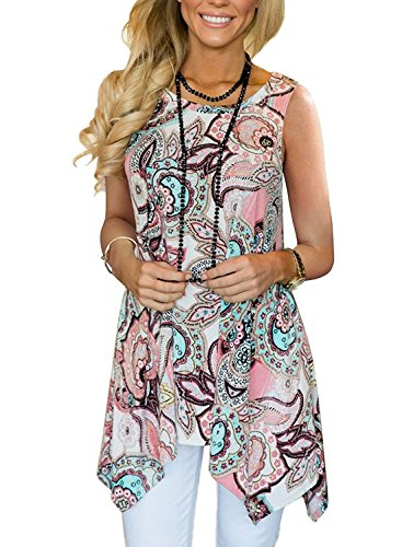Viracy Loose Tank Tops for Women, Ladies Summer Casual Sleeveless Swing Tunic Floral Shirts Plus Size (3X, 04-Pink) ()