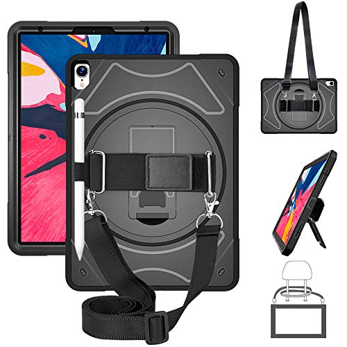 GEEKSDOM iPad Pro 11 Case,Heavy Duty Shockproof Rugged Case with Pencil Holder/360 Degree Hand Strap/Kickstand and Shoulder Strap for iPad Pro 11 Inch 2018 Tablet Black [iPad Pencil Charg Not Support]