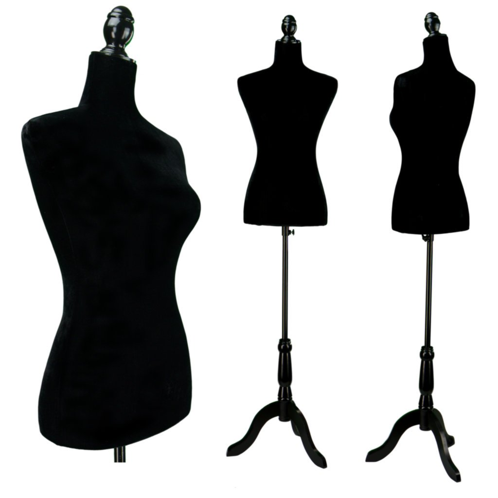 Amazon.com: Black Female Velour-Like fabric Mannequin Dress Form ...