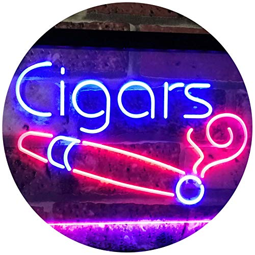 ADVPRO Cigars Lover Room Décor Dual Color LED Neon Sign Blue & Red 16 x 12 Inches st6s43-i2335-br (Led Cigar Sign)