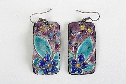 Handmade Rectangular Dangling Copper Earrings With Enamel Painting Blue Flowers