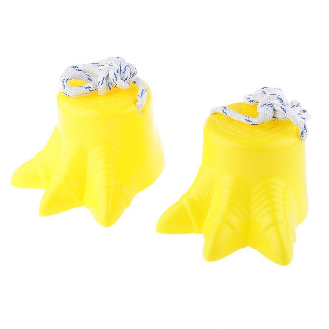 SODIAL Kids Movement Balance Sensory Training Dinosaur Foot Stilt Funny Toy Yellow Pack of 2 152779