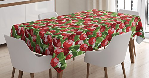 Ambesonne Apple Tablecloth, Red Apples and Green Leaves Organic Food Garden Harvest Eating Clean Theme Print, Dining Room Kitchen Rectangular Table Cover, 52