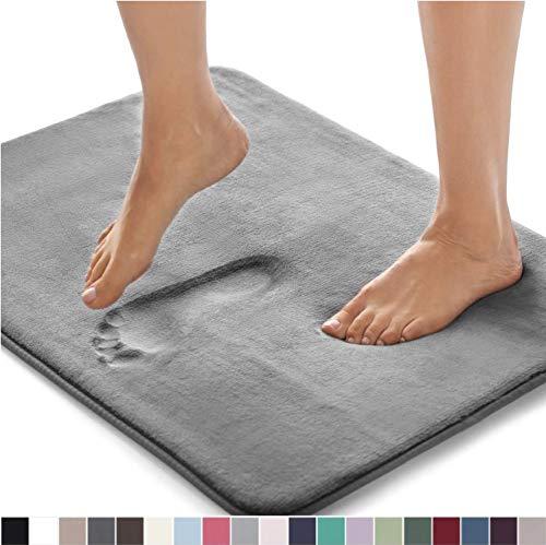 Gorilla Grip Original Thick Memory Foam Bath Rug, 30x20, Cushioned Soft Floor Mats, Absorbent Premium Bathroom Mat Rugs Rugs, Machine Washable, Luxury Plush Comfortable Carpet for Bath Room, Graphite (Memory Bath Foam Mat)