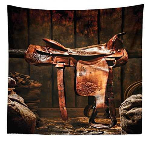 Style Ranch Bedspread (Lunarable Western Tapestry Queen Size, American West Traditional Authentic Style Rodeo Cowboy Saddle Wood Ranch Barn Image, Wall Hanging Bedspread Bed Cover Wall Decor, 88 W X 88 L Inches, Dark Brown)