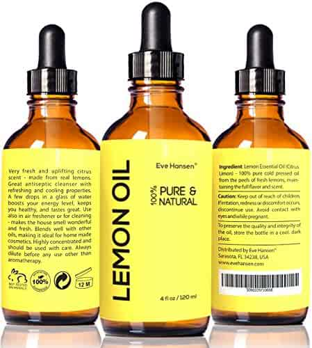 Eve Hansen Premium LEMON ESSENTIAL OIL 4 Oz SAFE FOR INGESTION 100% Pure Cold Pressed from Real Lemons No Additives Detox Your Body and Boost Fat Burning Naturally BUY WITH CONFIDENCE!