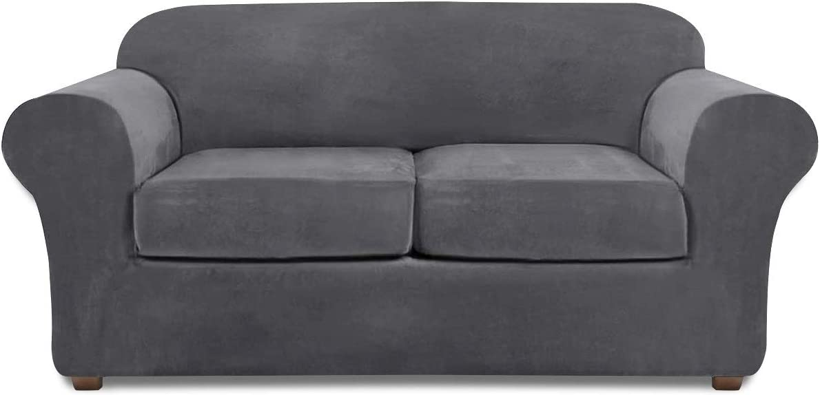Velvet Loveseat Covers for 2 Cushion Couch Stretch 3 Piece Loveseat Slipcover (Gray)