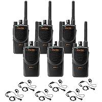 6 Mag One By Motorola BPR40 - UHF 4 Watt 8 Channel Radios with 6 Motorola HKLN4604 Headsets(Black)