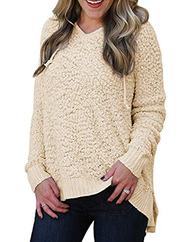 Famulily Women's Long Sleeve Boucle Knit Sweater V Neck Warm Fuzzy Hooded Sweatshirt Sherpa Pullover Beige M