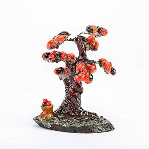 Made in the Andes Wire Tree Sculpture - Bonsai Huayruro Seed Beaded Tree Art - Home ()