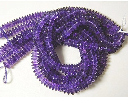 - 16 Inch Full Strand, Amethyst German Cut Faceted Rondelles Disc Beads, 9.5mm Beads