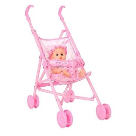 Fantasyworld Infantil del bebé de la muñeca del Carro del Cochecito Plegable con la muñeca de