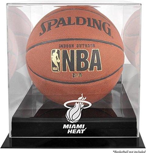 (Miami Heat Black Base Logo Basketball Display Case and Mirror)