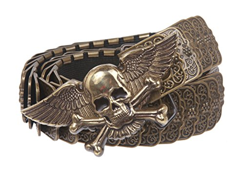 """1 1/4"""" Winged Skull Pirate Elastic Sequent Metal Stretch Belt Size: M/L Color: Antique Brass"""