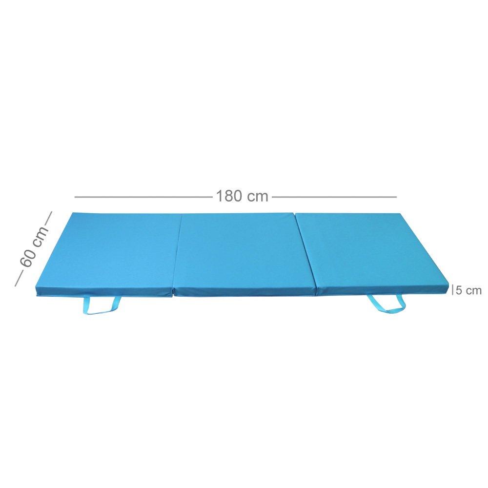 PRISP Colchoneta de Espuma 180 cm, Triple Plegable, para Gimnasia, Fitness, Yoga, aeróbics y Ejercicio para casa e Interiores; Largo: 180cm, Ancho: 60 ...