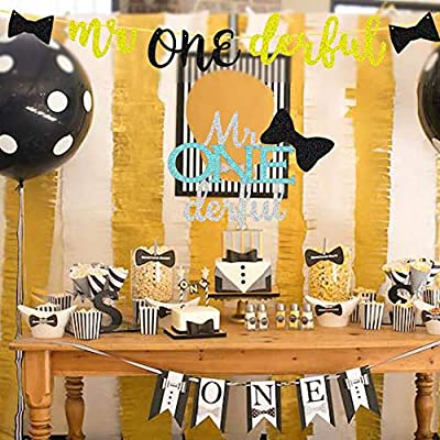 Mr Onederful Banner Boy 1st Birthday Party Banner Little Man Wonderful One Bow Tie Theme Baby First Birthday Party Supplies Decoration: Toys & Games