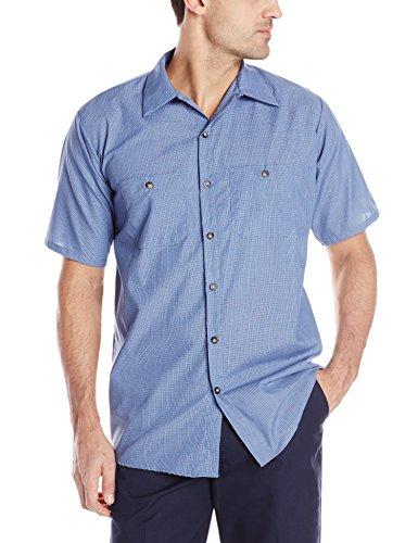 Red Kap Men's Geometric Micro-Check Work Shirt, Denim Blue Micro Check,  Short Sleeve X-Large ()