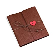 Zhi Jin Felt Heart Adhesive Photo Album DIY Retro Picture Scrapbook Albums Anniversary Wedding Memory Book Gift Small Coffee, Small-Coffee