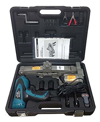 """1 Ton 12V Electric Scissor Car Jack + 1/2"""" Impact Wrench Lift Lifting Kit COMBO"""