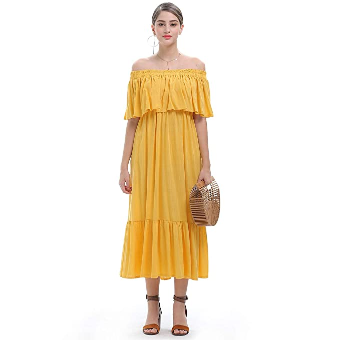 diig Yellow Off Shoulder Dresses for Women, Formal Summer Maxi Ruffle Long  Party Dress Plus Size