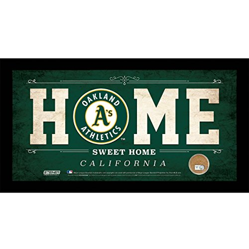 mlb-oakland-athletics-home-sweet-home-sign-with-game-used-dirt-from-oco-coliseum-6-x-12-green