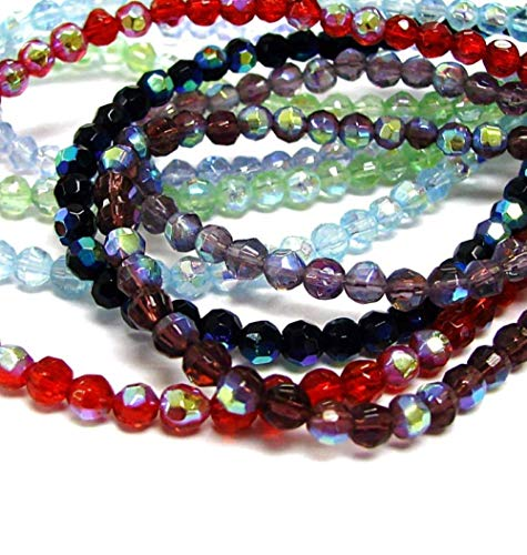 Crystal Beads Chinese Round Faceted (Linpeng Glass Beads for Jewelry Making Half Coated Faceted Round Mix Lot 650 Pcs, Assorted)