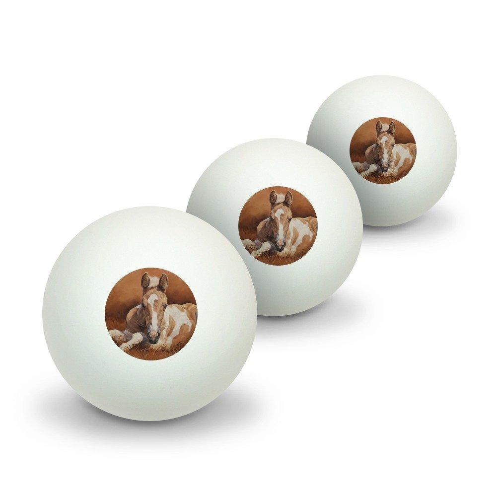 graphique et plus Poulain bébé Cheval Nouvelle Peinture Novelty Balles de ping-pong Lot de 3