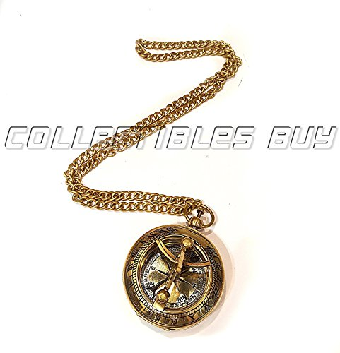 (Pocket Compass Shiny Brass Sundial Compass With Chain Lover Gift)