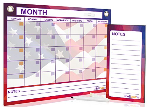 Magnetic Dry Erase Monthly Calendar by Sellavie - 12 X 15 Inch Reusable Whiteboard Planner for Refrigerator or Wall Plus FREE Magnetic Memo Pad (60 Sheets) & Magnetic Dry Erase Black Marker