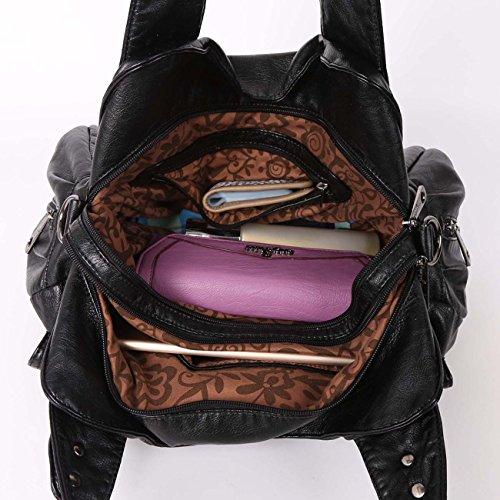 Angelkiss 2 cremalleras superiores bolsillos múltiples bolsos de las mujeres / bolsos de cuero lavados / bolsas de hombro XS160738 (Azul) Negro