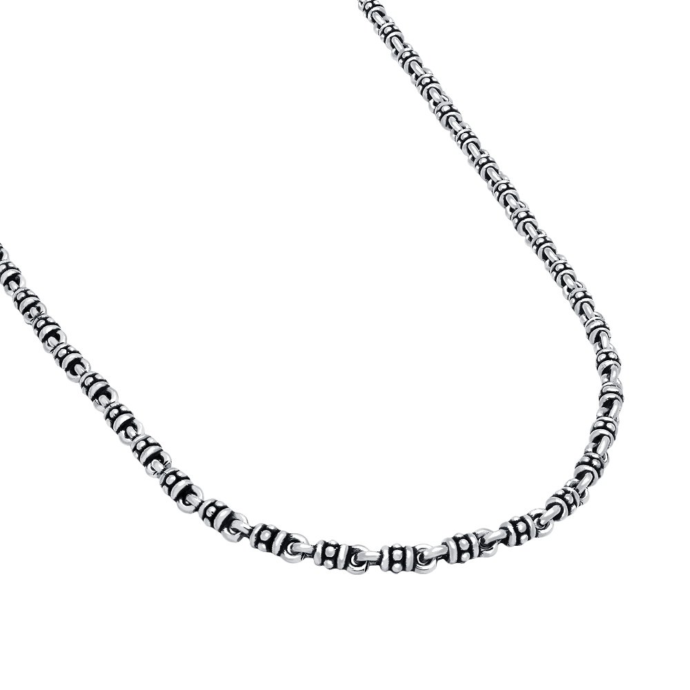 Twisted Blade 925 Sterling Silver Silver Studded Link Necklace 22''