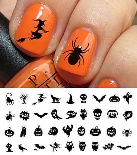 Halloween Nail Decals Assortment #3 - WaterSlide Nail Art Decals - Salon (Easy Nail Designs For Halloween)