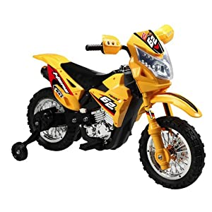 Vroom Rider VR093 Battery Operated 6V Kids Dirt Bike, Yellow