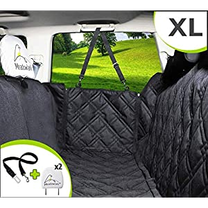 Meadowlark XL Dog Seat Covers Unique Design & Full Car Protection-Doors,Headrests & Backseat. Extra Durable Zippered Side Flap, Waterproof Pet Seat Cover + Seat Belt & 2 Headrest Protectors as a Gift 97