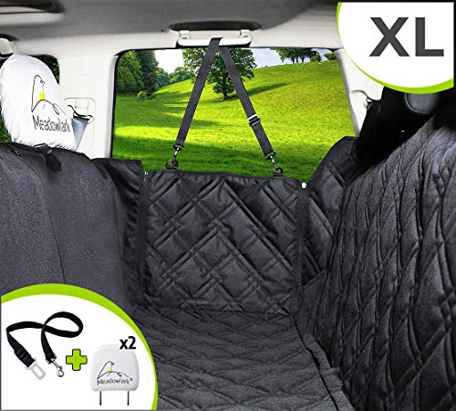 Meadowlark XL Dog Seat Covers Unique Design & Full Car Protection-Doors,Headrests & Backseat. Extra Durable Zippered Side Flap, Waterproof Pet Seat Cover + Seat Belt & 2 Headrest Protectors as a Gift (Best Gifts For Dogs 2019)