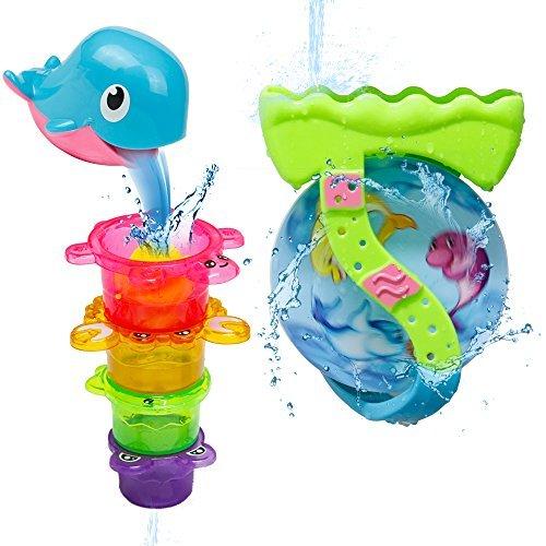 Jouet de Bain Bébé Baleine Roue D'eau aux Ventouse et 4 Tasses Multicolores pour Enfant Garçon Fille (Couleur aléatoire)